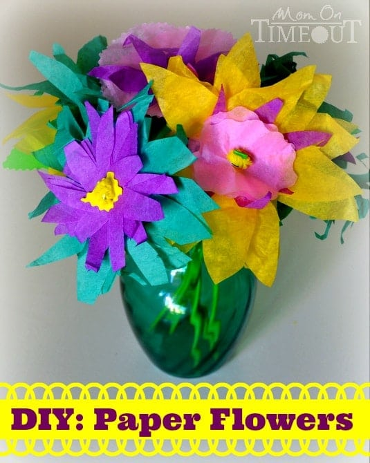 DIY Paper Flowers - A fun and easy kid's craft project by MomOnTimeout.com