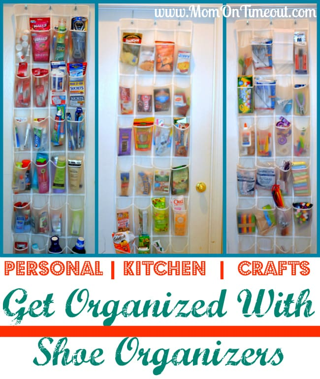 Get Organized with Shoe Organizers from MomOnTimeout.com  | Shoe Organizers aren't just for shoes!They are also great for kitchen pantry items, crafts, personal care items and more! #organization