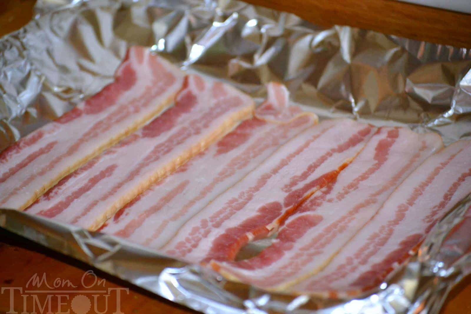 Baking Bacon Laid Out On Foil