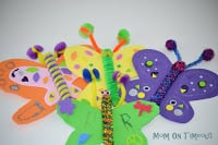 Easy butterfly craft for kids collage with three butterflies made with foam and popsicle sticks