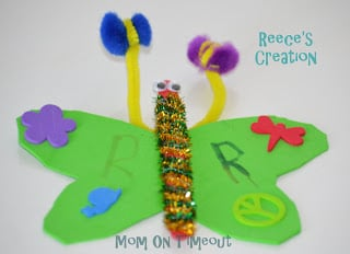 butterfly craft made by child