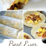 three image collage of breakfast burritos cut in half on baking sheet and ready to be wrapped and rolled