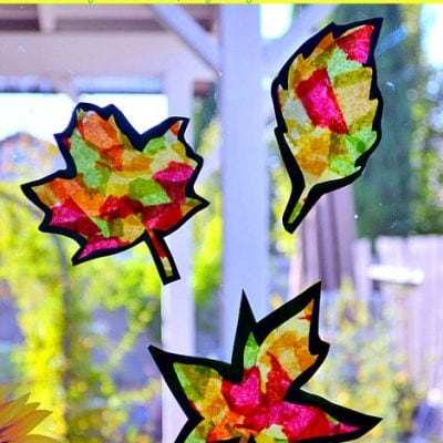 Stained Glass Fall Leaves Craft (with template)