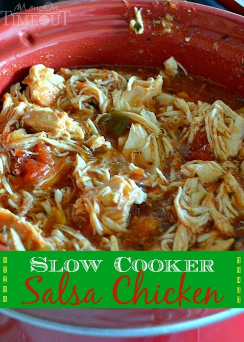 Slow Cooker Salsa Chicken is perfect for nachos, burritos, tacos, quesadillas and more! | MomOnTimeout.com