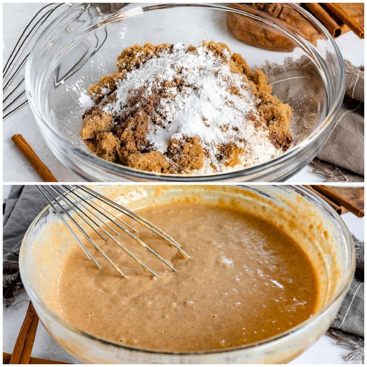 pumpkin pancakes being mixed together in glass bowl in 2 image collage