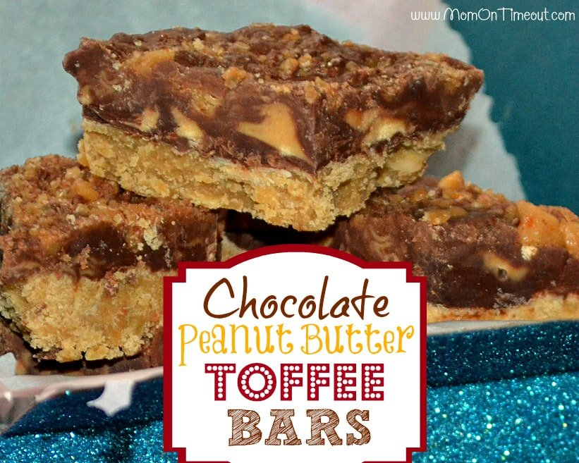 Chocolate Peanut Butter Toffee Bars are the perfect addition to any party or holiday tray! | MomOnTimeout.com