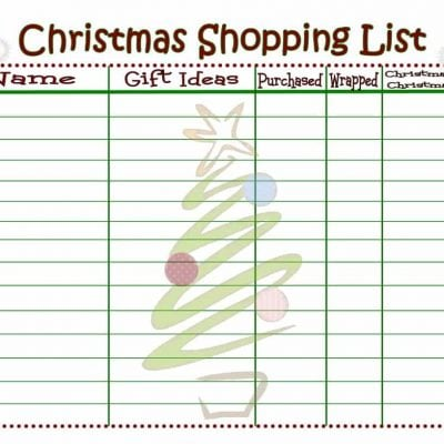 Christmas Shopping List {Printable}