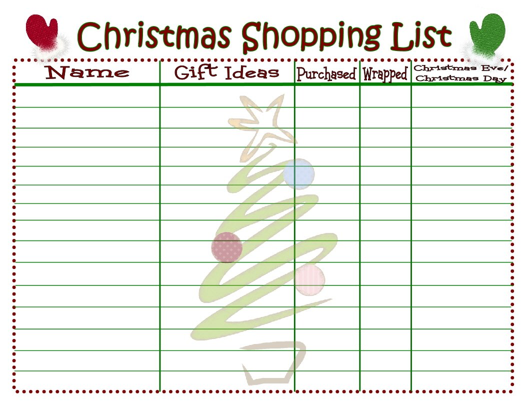 Transformative image for printable christmas list