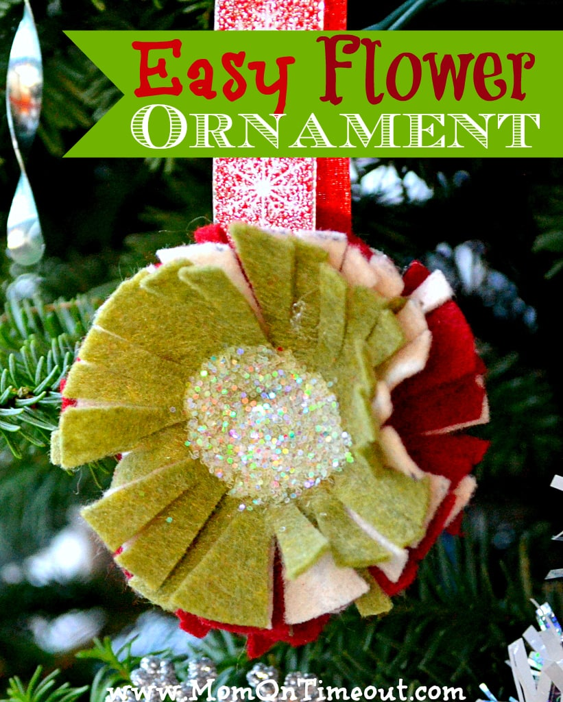 Easy Felt Flower Ornament - A fun and easy craft for Christmas! |MomOnTimeout.com