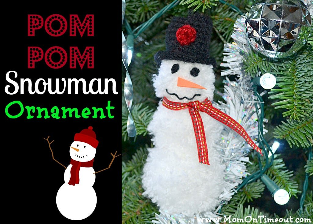 Pom Pom Snowman Ornament Tutorial