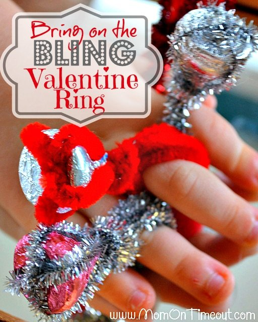 A super fun Valentine's Day ring made with Hershey's Kisses and pipe cleaners | MomOnTimeout.com | #craft #ValentinesDay