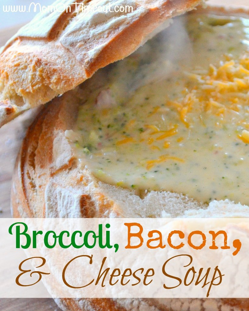 Broccoli, Bacon, and Cheese Soup from Mom On Timeout | The ULTIMATE comfort food! Delicious served in a crusty, sourdough bread bowl! #recipe #soup