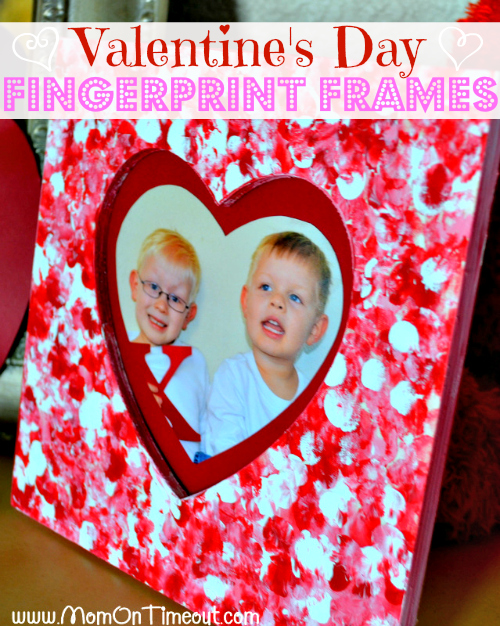 Valentine's Day Fingerprint Frames from MomOnTimeout.com | Fun for the little ones, inexpensive, and makes a wonderful gift for Mom, Dad, and Grandparents! #valentinesday #craft