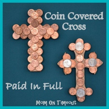 Resurrection Craft made from wood crosses and pennys showing that our debt (sins) have been paid in full.