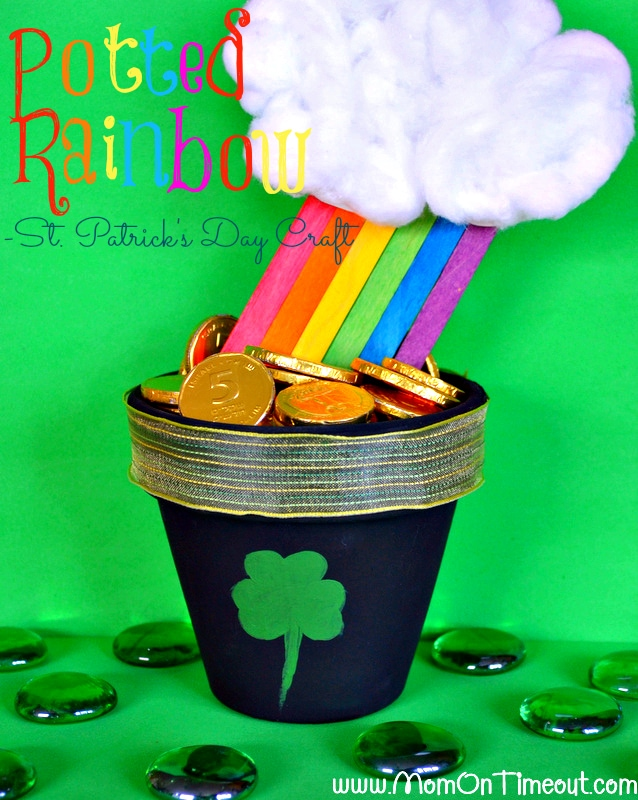 A Potted Rainbow for St. Patrick's Day from MomOnTimeout.com! | #St.Patrick'sDay #kids #craft #rainbow @MomOnTimeout