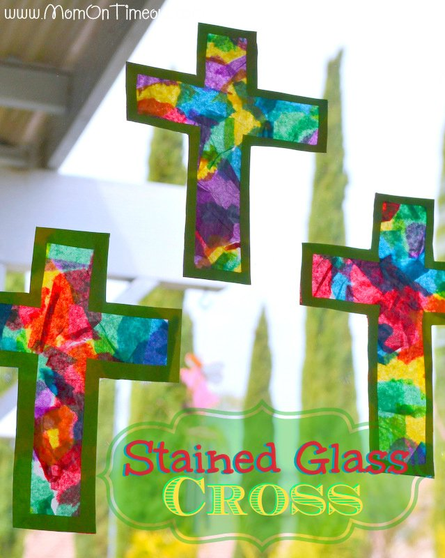 Stained Glass Cross made from tape, construction paper, and colorful tissue paper.