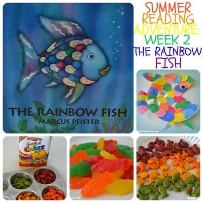 Summer Reading Adventure Week 2  - The Rainbow Fish | MomOnTimeout.com Fun Rainbow Fish book activities, crafts, and snack ideas!