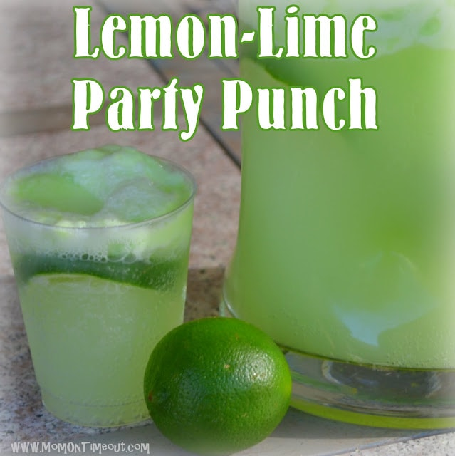 Lemon Lime Party Punch | MomOnTimeout.com Made with lime sherbet this punch is always a crowd pleaser! #beverage #punch
