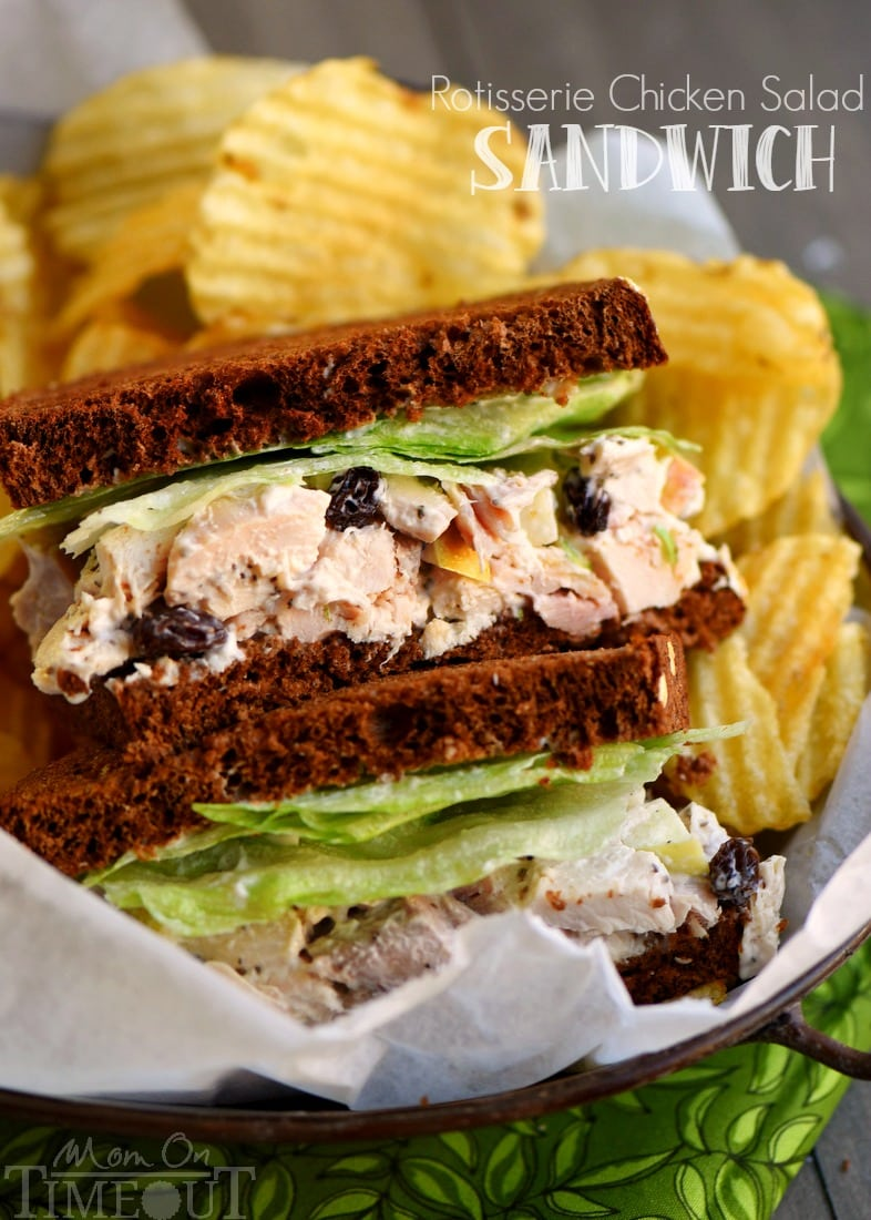 Rotisserie Chicken Salad Sandwich recipe that utilizes the delicious and convenient flavors of a rotisserie chicken! Made with apples and raisins for amazing flavor and crunch! Don't forget the secret ingredient!