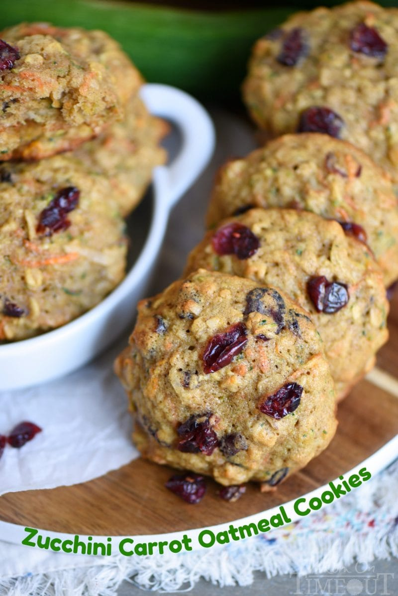 These amazing Zucchini Carrot Oatmeal Cookies are packed full of zucchini, carrots, oatmeal, dried cranberries, and coconut!  All the good stuff! // Mom On Timeout