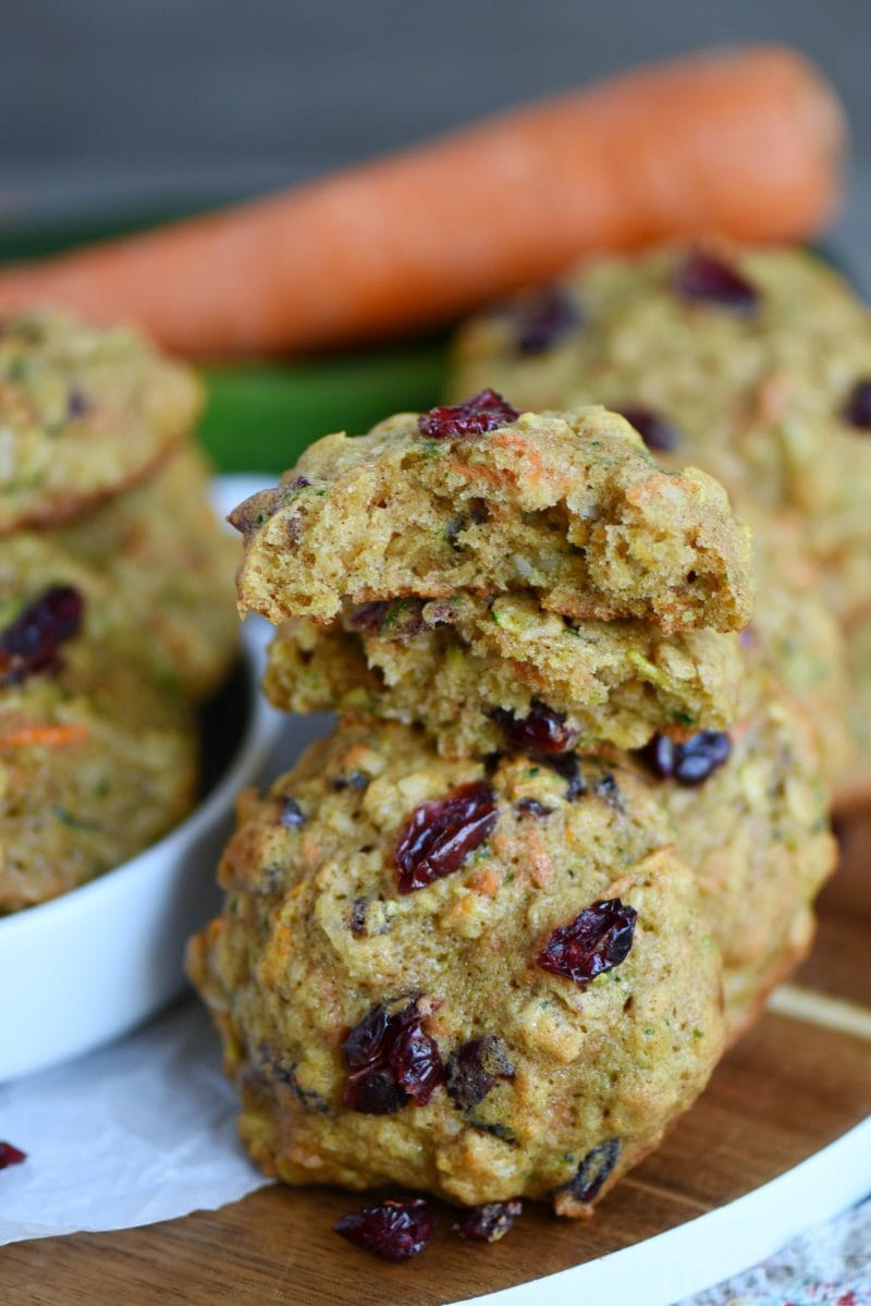 These amazing Zucchini Carrot Oatmeal Cookies are packed full of zucchini, carrots, oatmeal, dried cranberries, and coconut! All the good stuff!