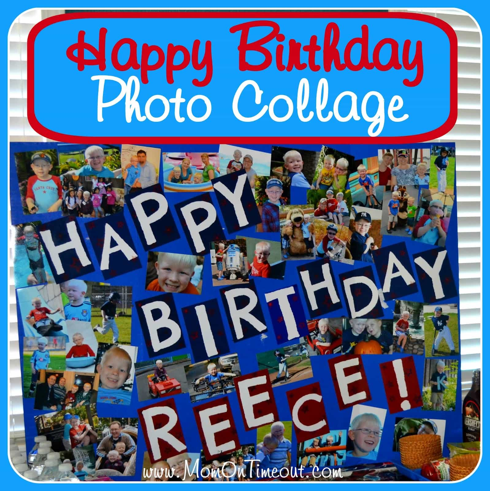 Birthday Photo Collage | MomOnTimeout.com  - A really special way to highlight the birthday boy or girl!  Easy, inexpensive, and a great conversation starter! #birthday #craft
