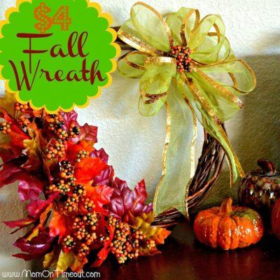$4 Fall Wreath {Dollar Tree Craft}
