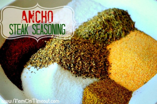 Ancho Steak Seasoning ingredients in white bowl