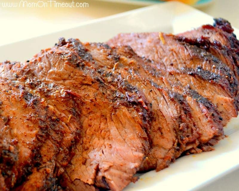 Beef-Tri-Tip sliced on white plate