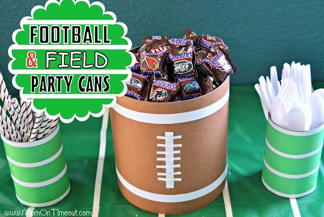 Football and Field Party Cans from MomOnTimeout.com #football #craft