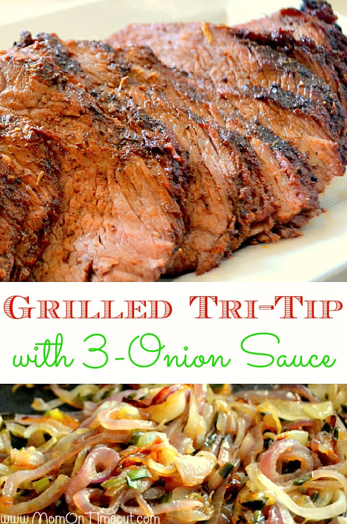 Grilled Tri-Tip with 3-Onion Sauce two image collage with text overlay