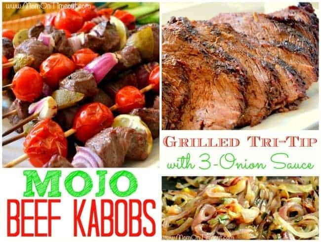 Mojo Beef Kabobs and Grilled Tri-Tip with 3-Onion Sauce | MomOnTimeout.com