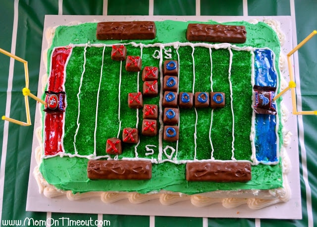 A Football Field Cake is the perfect way to celebrate football all season long! | MomOnTimeout.com #recipe #football #cake