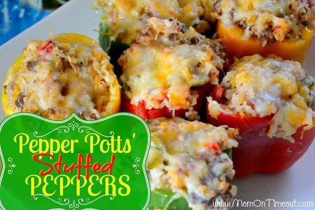 Pepper Potts' Stuffed Bell Peppers   Mom On Timeout  - So delicious!  Perfect for dinner or parties!  #dinner #recipe #Avengers