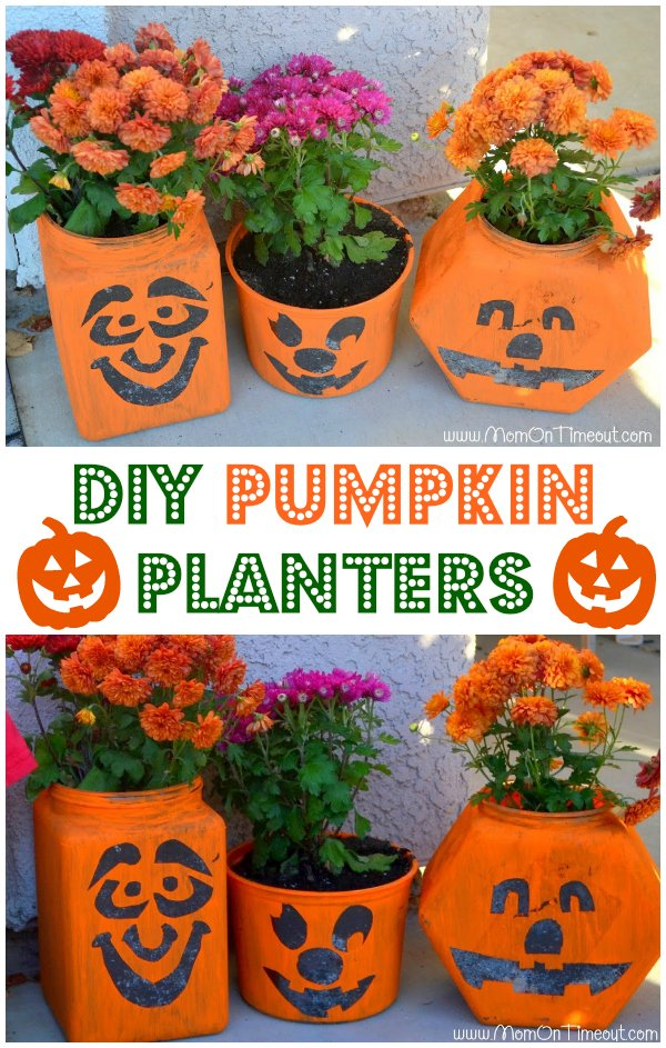Easy DIY Pumpkin Planters | MomOnTimeout.com | #fall #pumpkin #craft #garden