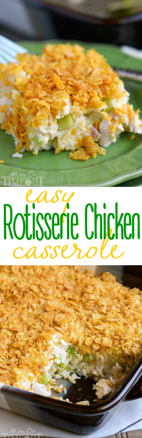 chicken rice casserole with rotisserie chicken in baking dish