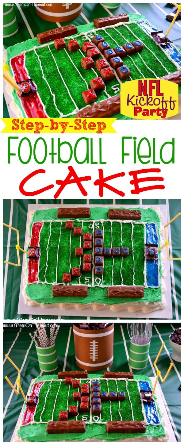 A Football Field Cake is the perfect way to celebrate football all season long! | MomOnTimeout.com | #recipe #football #cake