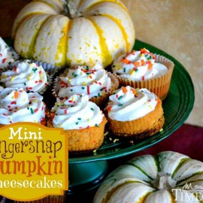 Mini Gingersnap Pumpkin Cheesecakes