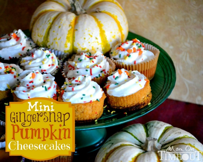 Mini Gingersnap Pumpkin Cheesecakes | MomOnTimeout.com