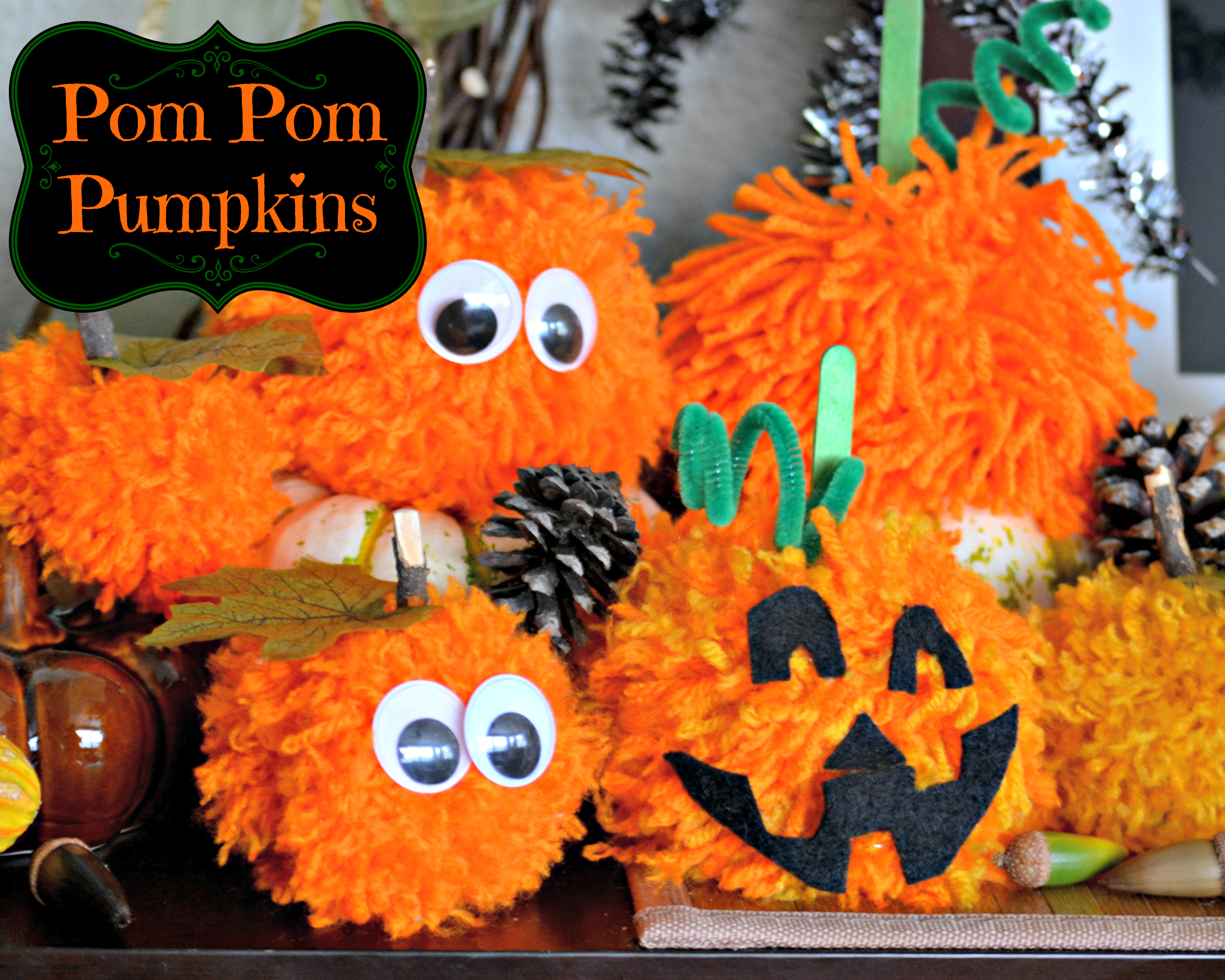 Pom Pom Pumpkins – Kid's Halloween Craft Idea
