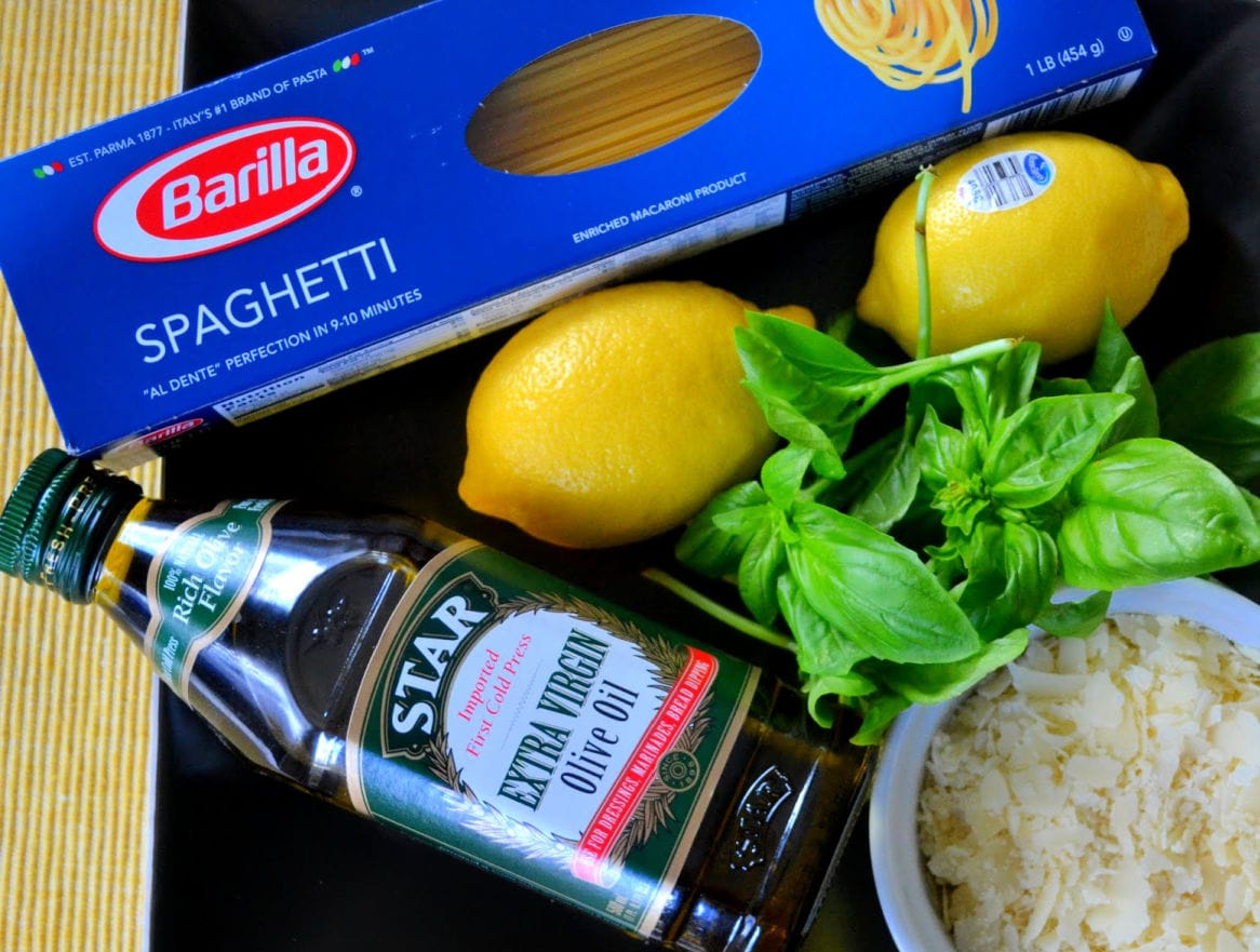 lemon spaghetti ingredients laid out on board