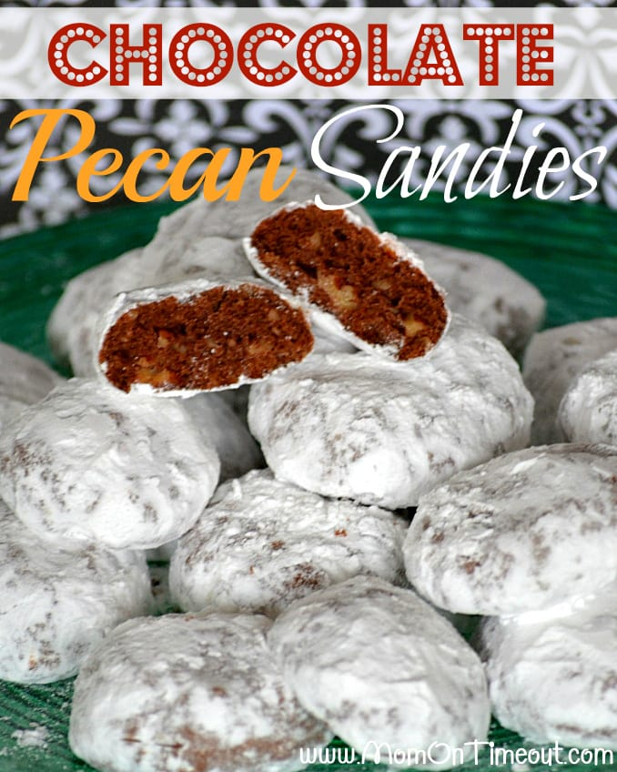 Chocolate Pecan Sandies | Mom On Timeout - Snowy white on the outside and chocolaty on the inside – a yummy twist on the original!  #cookies #recipes #desserts