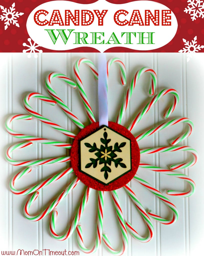 Candy Cane Christmas Wreath | MomOnTimeout.com | #craft #christmas