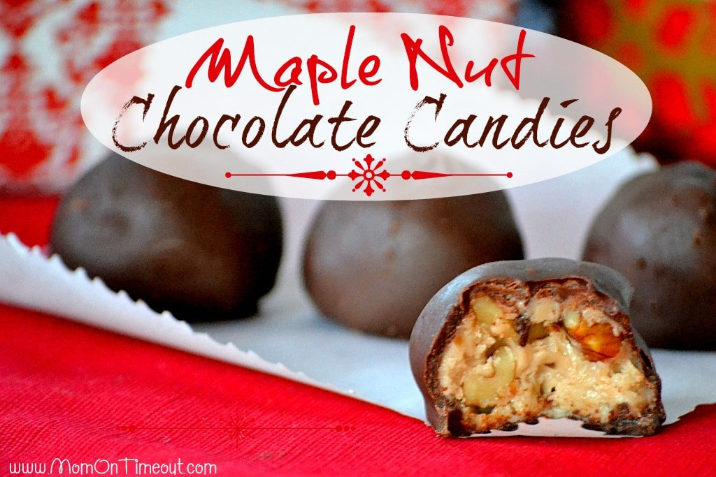 Maple Nut Chocolate Candies - These little morsels are packed full of maple flavor, crunchy nuts and are coated with a rich chocolate shell. | MomOnTimeout.com
