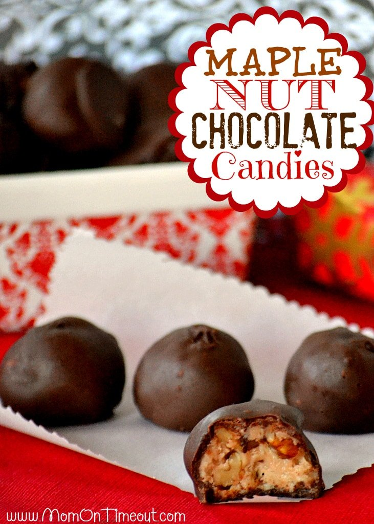 Maple Nut Chocolate Candies - These little morsels are packed full of maple flavor, crunchy nuts and are coated with a rich chocolate shell.   MomOnTimeout.com