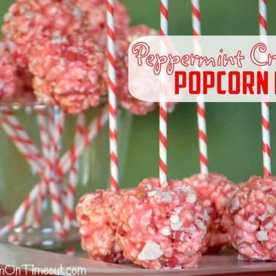 Marshmallow Peppermint Crunch Popcorn Ball Pops