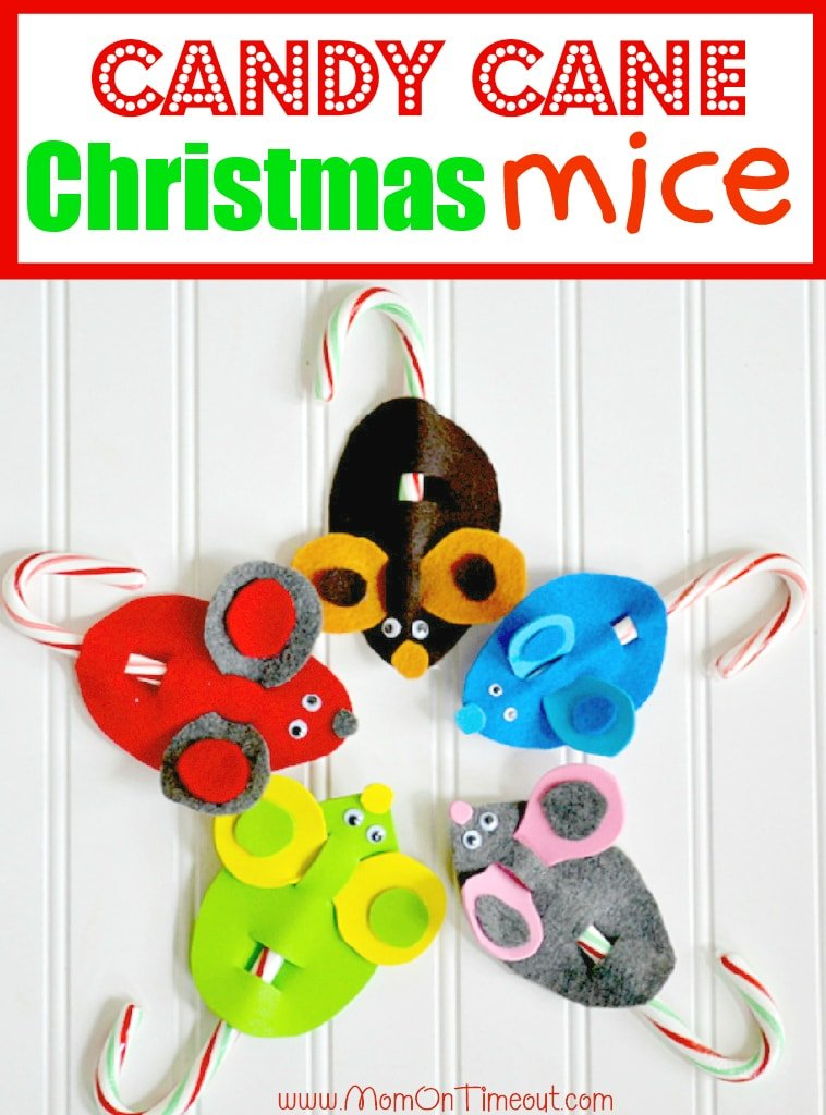 Candy Cane Mice Christmas Craft | MomOnTimeout.com