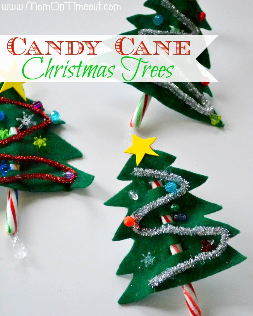 Candy cane christmas trees craft mom on timeout for Holiday project