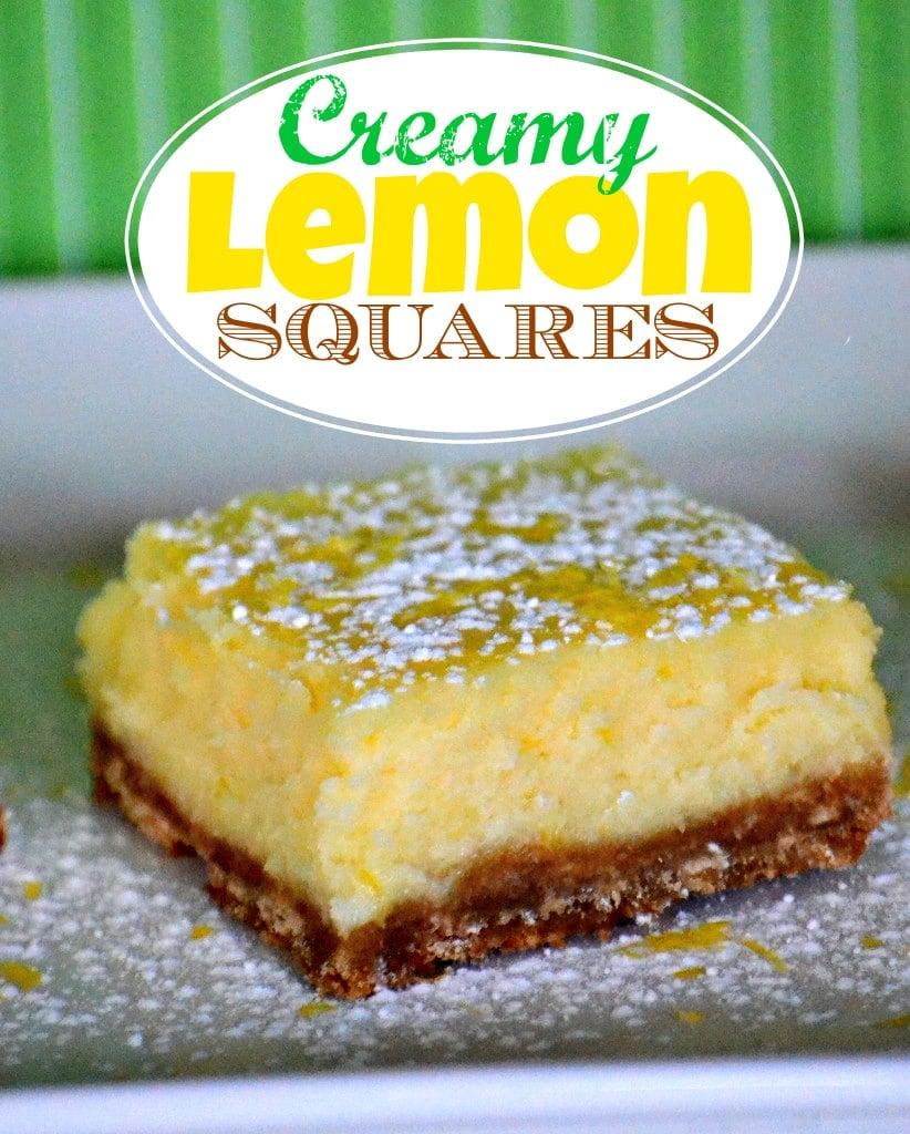 These Creamy Lemon Squares taste just like a lemon cheesecake - so creamy and delicious!  MomOnTimeout.com   #dessert #lemon #recipe