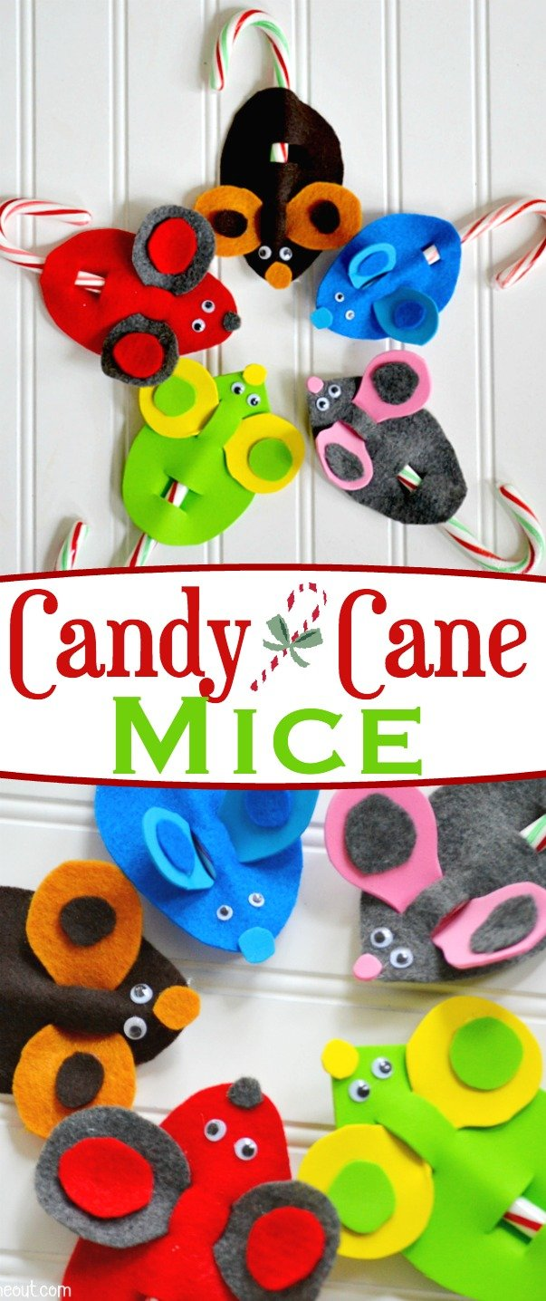 These adorable and easy Candy Cane Christmas Mice are sure to become a holiday tradition! Our favorite Christmas craft is super fun to make, kid-friendly, and only requires a few, easy-to-find, craft items. Let your kid's creativity run wild and have a Merry Christmas! // Mom On Timeout
